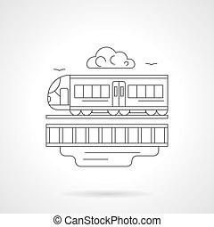 City train detailed line vector illustration