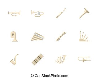 Wind instruments flat color vector icons - Music culture and...