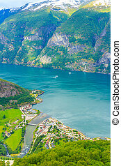 View of the fjords at Stegastein viewpoint in Norway -...