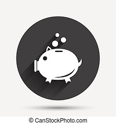 Piggy bank sign icon Moneybox symbol Circle flat button with...