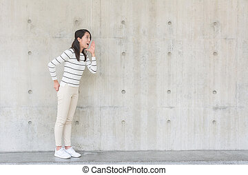 Woman shouting out - Woman shouting something