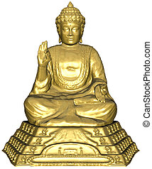 Budha statue - 3D rendered budha statue on white background...