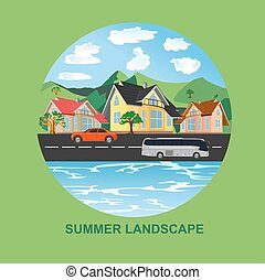 summer landscape, city, vector illustration