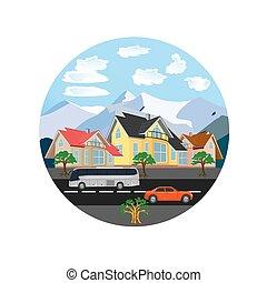 cidade, vetorial, paisagem, Ilustração
