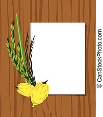 Jewish holiday Sukkot. Lulav ,Etrog, Arava and Hadas. Four...