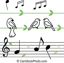 musical notes with birds on vine