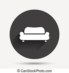 Comfortable sofa icon. Modern couch symbol.