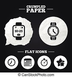 Smart watch Mechanical clock time and timer - Crumpled paper...