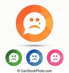 Sad face with tear sign icon. Crying symbol. - Sad face with...