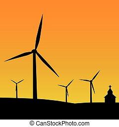 Silhouette wind turbine farm.
