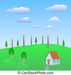 Alternative energy source., Wind turbines farm