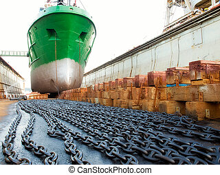 Ship and dock - The ship in the dry dock during the...