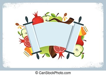 card for Jewish holiday Rosh Hashana with traditional...