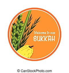 welcome sign for traditional Jewish holiday Sukkot vector...