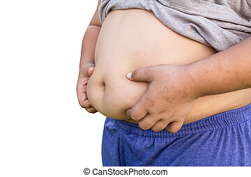 Boy fat and unhealthy on isolated white with clipping path.