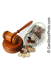 legal gavel and assorted coins in a jar isolated on white