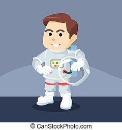 astronauts opened his helmet