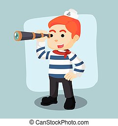 sailor holding binocular illustration design