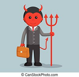 businessman satan holding briefcase and trident