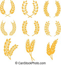Rye wheat ears wreaths vector elements for bread and beer labels, logos