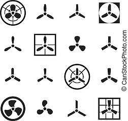 Fans, propellers vector icons set