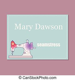 Business card for seamstress - Vector vintage business card...