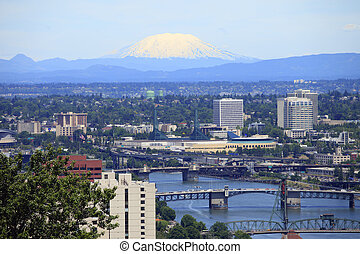 Portland & Mt. St. Helen\\\'s. - A view looking NE at Mt....