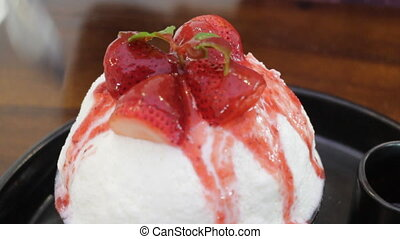Delicious strawberry cheese bingshu