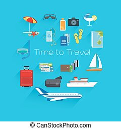 Time to travel poster template on blue background. Vector...