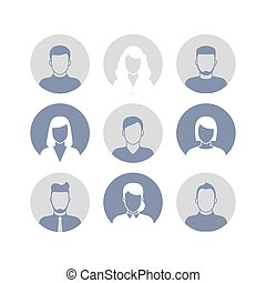 People profile silhouettes icons in circle frames. Vector...
