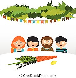 family in the sukkah sukkot Jewish holiday vector...