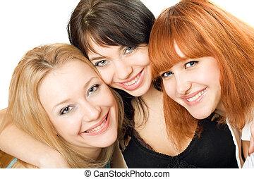 retrato, tres, mujeres