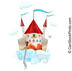 castle in the sky - illustration with a castle in the sky