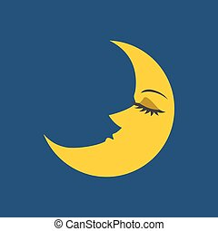 Vector moon with face, flat design