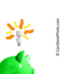green piggy bank with energy-efficient light-bulb above (smart energy)