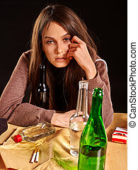 Girl in depression drinking alcohol. - Drinking girl in...