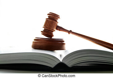 judges court gavel on a lawbook, on white background