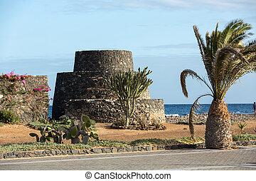 Ancient Castle in Caleta de Fuste. Canary Island...