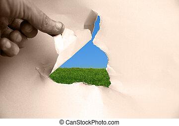 azul, rasgado, cielo, atrás, papel, verde, pasto o césped