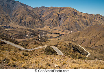Andean mountain pass road in Salta, Argentina