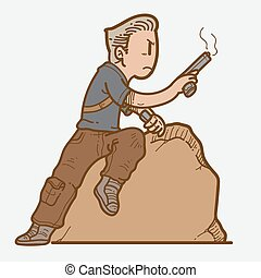 reload gun.eps - Illustration of man reload a gun