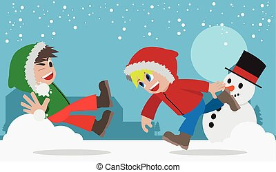 Snowball fight.eps - Illustration of snowball fight