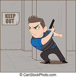 Police raid.eps - illustration of police raid