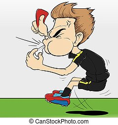 Referee red card - Illustration of referee giving red card