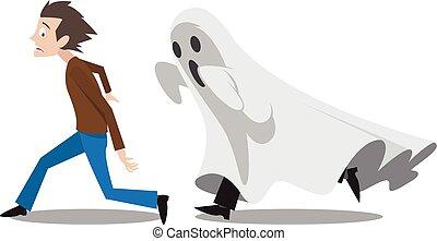Running away scared.eps - Illustration of man running away...