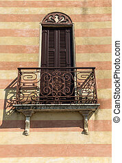 Wrought Iron Balcony in Torri del Benaco at Garda Lake....