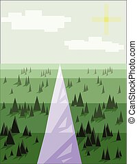 Abstract landscape with pine trees, snow, sun and purple...
