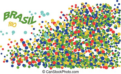 Brasil, Rio logo with colored circles. Digital vector image.