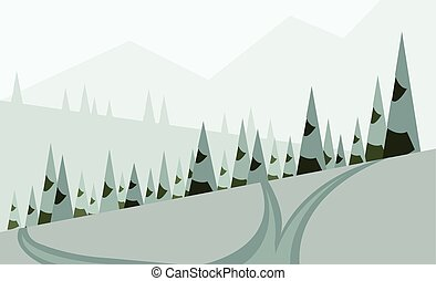 Abstract landscape design with green trees, hills and snow,...