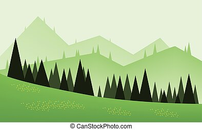 Abstract landscape design with green trees, hills and fog,...
